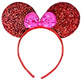Partysanthe Bow Head Band Gliter Red With Bow Pink Minnie Mouse/Mickey Mouse Bow Headband/ Minnie Mouse Ears Headband Hairband Costume Accessory...