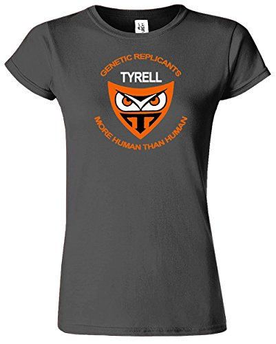 Tyrell Corporation Replicants Damen Damen T-Shirt Top T-Shirt Dunkel Grau Meliert / Weiß Design
