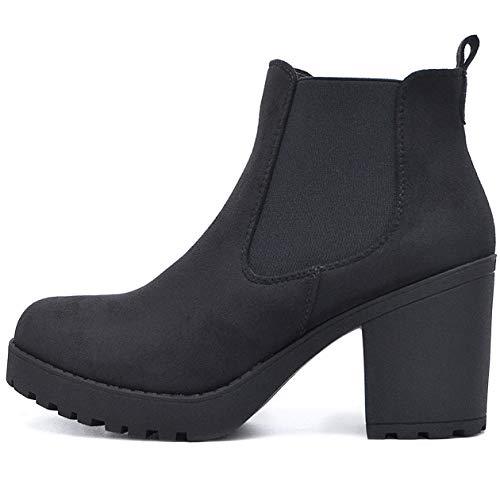 FLY 4 Chelsea Boots Plateau Stiefeletten in vielen Farben und Mustern (40 EU, Schwarz Samt Zip)