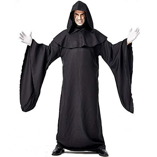 Kostüm Einfach Teufel - Halloween Kostüm Karneval Schwarz Einfache Robe Teufel Cosplay Kostüm Bühnenkostüm Rollenspiele Männer Und Frauen Priester Robe Umhang,L