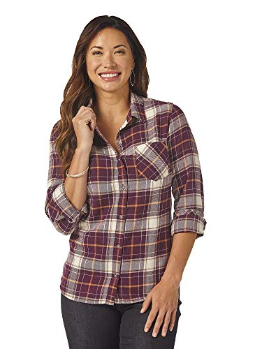 Riders by Lee Indigo Damen Heritage Long Sleeve Button Front Plaid Flannel Shirt Hemd, Himbeerwein, XX-Large - Baumwolle Plaid Button Front Shirt