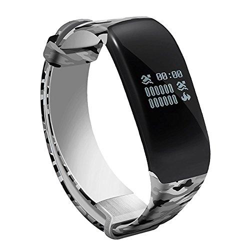 Lemumu Schwimmen Übung Hheart Herzfrequenz Messgerät Schritt wasserdicht Ring Camouflage Gurt intelligente Hand Ring Schickes Armband, Silber -