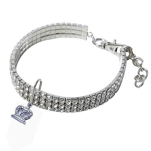 JFS Diamant-Hundehalsband, Justierbare Fancy Strass Hund Kragen- Mit Krone Anhänger Halskette -Für Small Medium Große Hunde,A,S -