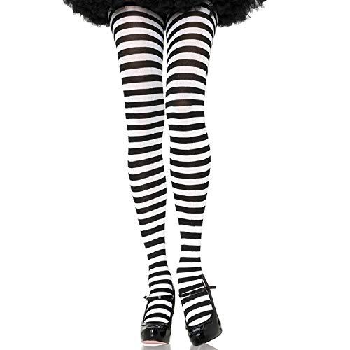 Leg Avenue 7100Q - Plus Größe Gestreiftes Strümpfhose Kostüm Damen Karneval, schwarz/weiß, Größe: (EUR - Schwarz Und Weiß Gestreifte Kostüm