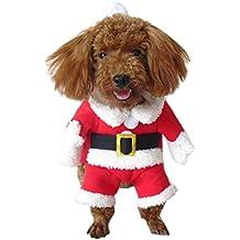 Eleery Haustier Weihnachtskostüm set mit hut Weihnachten Flügel Hundemantel Bekleidung für Hund Katze Anzug set (S, Rot Weihnachtsmann)
