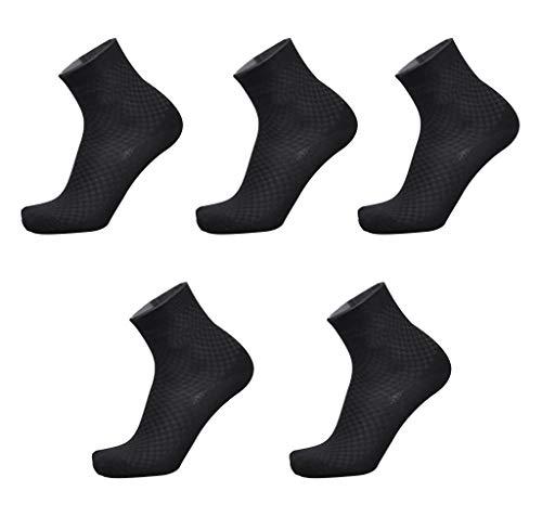 Lifeney 5 Paar Bambus Socken Herren - Bamboo Business Socks - Atmungsaktive Luxus Socken - Bequeme Baumwolle Socken für Sport und Freizeit - schwarz
