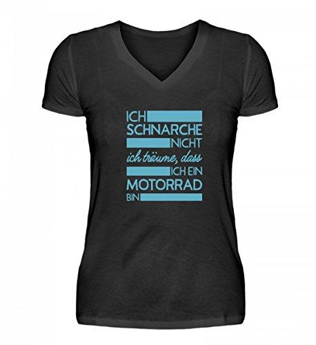 Hochwertiges V-Neck Damenshirt - Ich Schnarche Nicht, Ich Bin ein Motorrad Aufdruck Lustiges Geschenk (V-neck-liege)