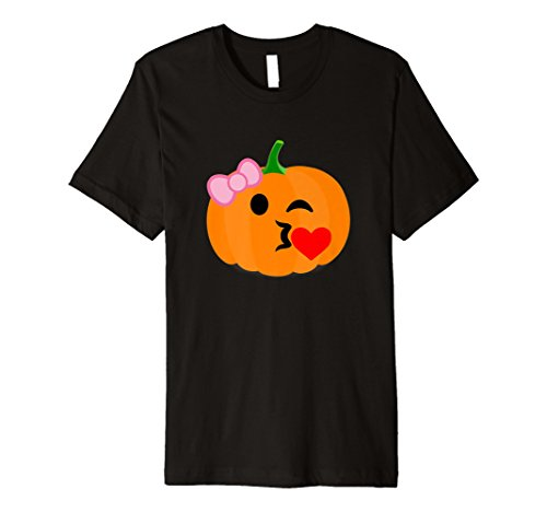 Kürbis Girl T-Shirt Kiss Heart Emoji-Halloween-Kostüm Tee