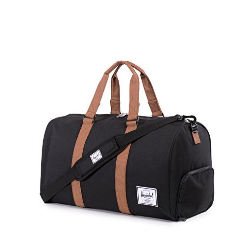 Herschel Novel Duffle, Bag, Tasche, 600D Poly, 00516, Black Crosshatch/Black Black/Tan Synthetic Leather Duffle