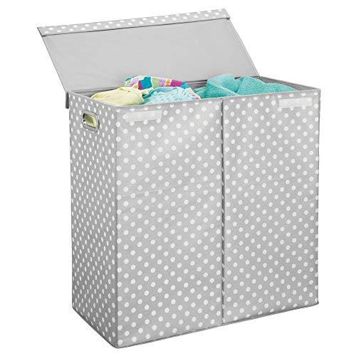 Mdesign cesto portabiancheria con coperchio - cesto panni sporchi pieghevole - porta biancheria a due scomparti con manici - realizzato in plastica - grigio chiaro/bianco