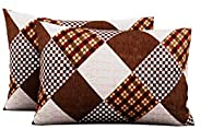 Urban Magic® 104 TC Pure Cotton 2 Piece Pillow Covers (Pack of 2, 44 cm*66 cm_Brown)