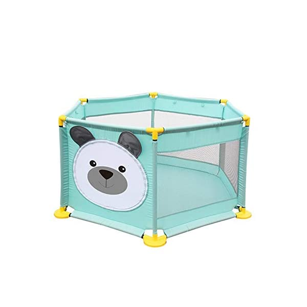 Baby Playpen Activity Centre Children Safety Fence Play Yard Game Playpen Fence for Home Indoor Outdoor Playing Per Material: ABS corner PVC connector Oxford cloth Mesh Size: height 65cm/25.59inch, length 142cm/55.9inch Age: 5 months to 3 years old 3