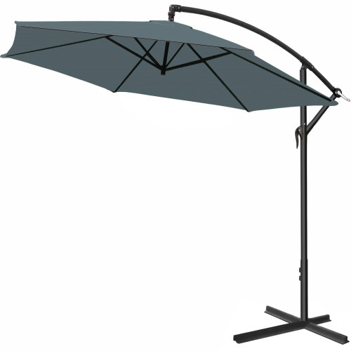 Alu Ampelschirm Ø 300 cm anthrazit mit Kurbelvorrichtung - Sonnenschirm Schirm Gartenschirm Marktschirm