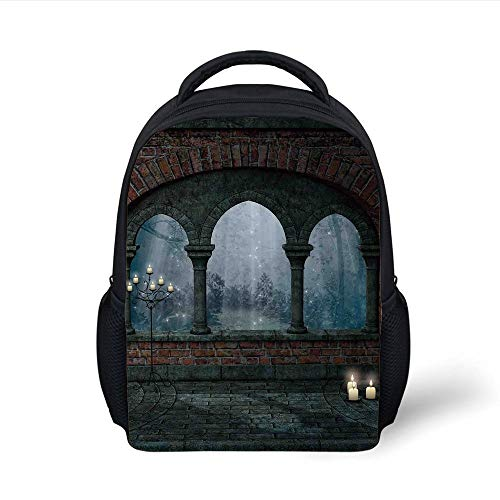 Big Blue Arch (Kids School Backpack Gothic Decor,Medieval Castle at Night with Old Arch and Candles Middle Age Misty Image,Blue Grey Red Plain Bookbag Travel Daypack)