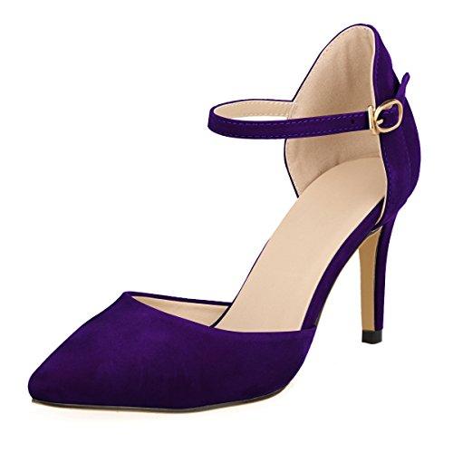 DULEE Damen Strap Stiletto Heel Spitzschuh Sandalen High Heel Pumps,Lila 40 Strap Pump Schuhe