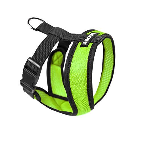GOOBY Comfort X Hundegeschirr mit Mikrovelourslederbesatz und patentiertem X-Rahmen, Medium (9-15 lbs), grün