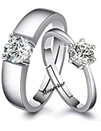 3481d2c9e3 Moneekar Jewels 925 Sterling Silver Plated Couple Promise Rings Combo For  Women & Men