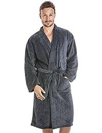 Camille - Robe de chambre pour homme - polaire douce - gris foncé et noir