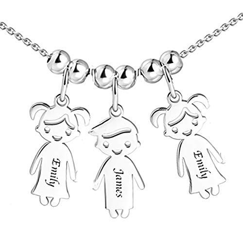 Personalisierte Namenskette für Mütter Gravur 1 bis 5 Kinder Namen-Mutter Name Halskette Boy und Girl Charms für Muttertag 925er Sterling Silber