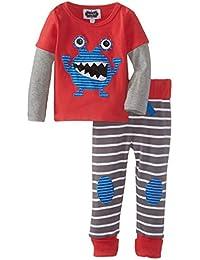 Mud Pie Baby-Boys Newborn Monster Pant Set, Red, 9-12 Months