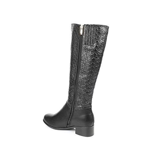 Ideal Shoes-Stiefel, bi-Material, mit Teil style reptile Leanna Schwarz - Schwarz