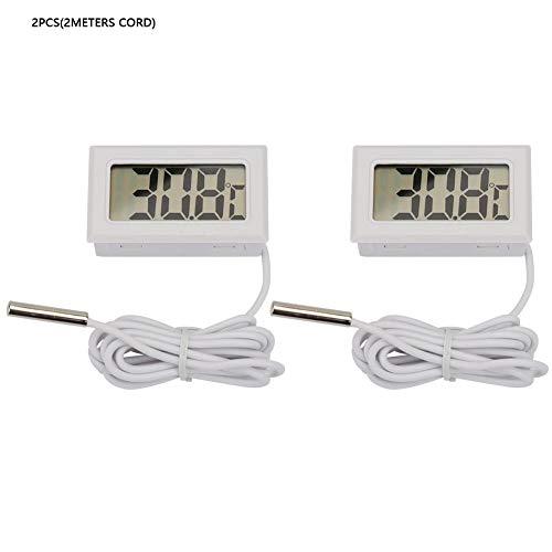 2Pcs Mini Digital LCD Indoor Praktische Temperatur Thermometer Manometer(2Meters Cord-Weiß) -