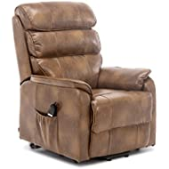 More4Homes BUCKINGHAM DUAL MOTOR ELECTRIC RISE RECLINER BONDED LEATHER ARMCHAIR SOFA MOBILITY CHAIR (Tan)
