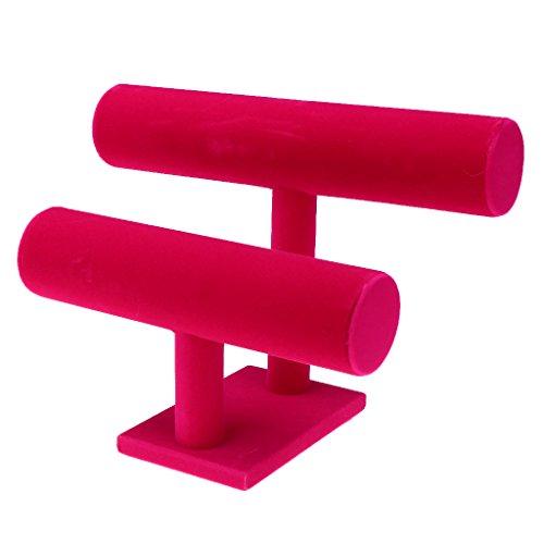 D DOLITY Schmuckaufbewahrung Zubehör 2-Schicht T-Bar Schmuck Haarbänder Armbänder Armketten Verkaufsständer für Geschäfte Schmuck auf Countertops und Schaukasten Anzeigen - Rosa Samt -