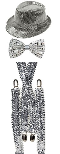 Unisex Sparkly Sequin Hat Braces Dicky Dickie Bow Tie Adults Fancy Dress Set (Silver) (Tie Und Silber Schwarz Bow)