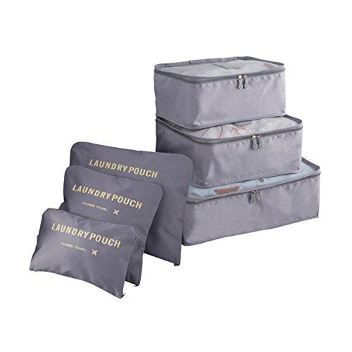 COOJA Set de 6 Travel Organizers 3 Packing Cubes + 3 Bolsas, Impermeable Organizador de Viaje para Maletas Bolsa Equipaje para Ropa Sucia Zapatos Maquillaje (Gris)