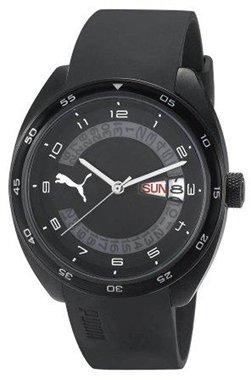 Puma Time  Course L Black - Reloj de cuarzo para hombre, con correa de goma, color negro