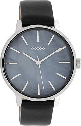 Oozoo Damenuhr mit Perlmutt Zifferblatt und Lederband 42 MM Perlmutt/Schwarz C10119