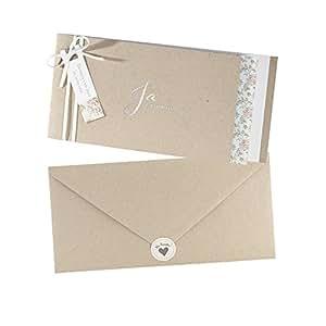 Vintage Einladungskarten Alexandra Fur Die Hochzeit Kraftpapier