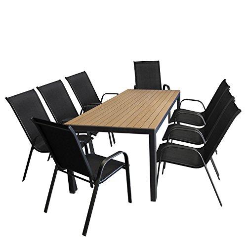 9tlg. Gartengarnitur Aluminium Polywood Gartentisch Teak-Optik 205x90cm + Stapelstuhl Schwarz mit Textilenbespannung Sitzgruppe Sitzgarnitur Terrassenmöbel