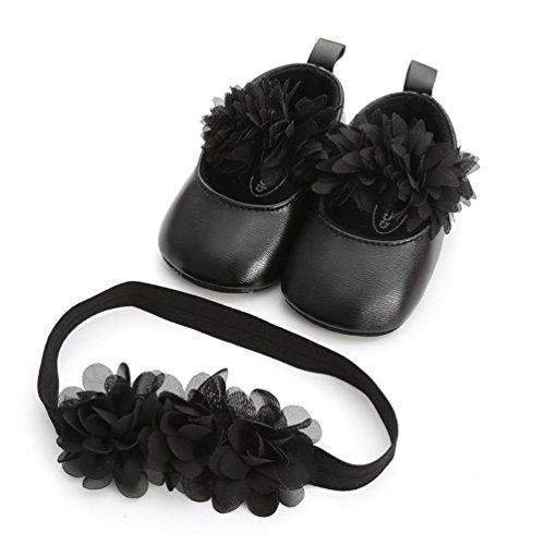 Huhu833 Babyschuhe, 2 Pcs Baby Mädchen Schuh Anti-Rutsch-weiche Sohle Kleinkind Schuhe+ Stirnband (6~12 Month, Schwarz 2) (Kleinkind Schuhe Mädchen Crib Schuh)