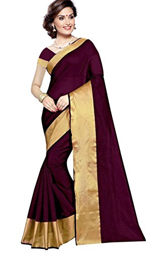 PMV Creation Women's Cotton Saree With Blouse Piece(PMV1040_Maroon)