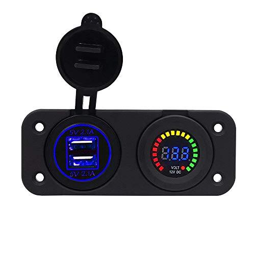 TurnRaise Dual 2.1A USB Charger + 12V/24V Cigarette Lighter Socket Two Hole for Car Motorcycle Boat Marine ATV RV Test