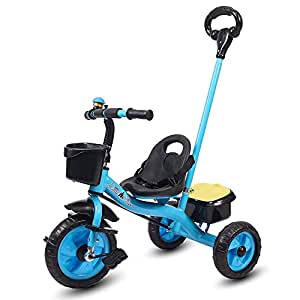 Little Olive Little Toes Baby Tricycle / Kids Trike / Bicycle / Ride On with Parental Adjust Push Bar and Foot Rest   Suitable for Boys & Girls - (1 to 4 Years) (Blue)