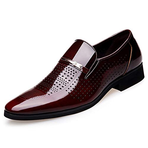 BBTK Leder Schuhe Business Patent Oxford Schuhe Für Männer Business Kleid Dating Party Mode Müßiggänger PU Leder Atmungs Perforiert Anti-Rutsch-Low Heel Slip-on (Color : Braun, Größe : 39 EU) -