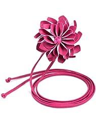 Malloom Moda Mujer leater elastico cinturon ancho cinturon de flores tridimensionales de Bohemia (rosa caliente)