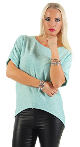 IKONA21 - Fashion Italy Damen Shirt Pulli Batwing Bluse Tunika Longshirt Onesize S M L 36 38 40 42 500 540 Mint Grün