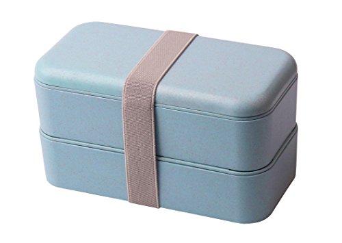 Elfin-Lore Bento Box Lunchbox aus Biologisch Abbaubarem Material (Weizenstroh Faser) BPA-frei |Mikrowelle Erhitzbar| Gefrierschrank, Geschirrspüler-Anwendbar 800ML - Blau