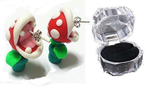 Super Mario Pakkun Blume Piercing & Case & Armband auch dreiteilige Set !! Zahlen gefüllte Ohrringe beliebte Spiel Cosplay Kostüm Waren sehr niedlich beispiellosen Preis-Tag !! Geschenk OK Wii U DS 3D Land 64 Warenkorb Welt Brüder rpg [USE ursprünglichen