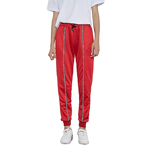 Sannysis Frauen Casual Mid-Waist Striped Print Sporthose Pluderhosen Jogger Pants