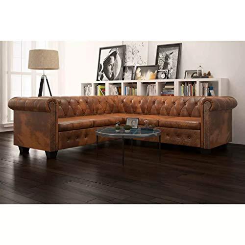 Zora walter telaio a l in legno divano chesterfield divano 5 posti in ecopelle marrone divano angolare divano letto con dimensioni: 205 x 205 x 73 cm (l x p x a)