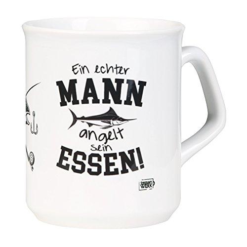 Formschöne Kaffeetasse für Angler! EIN ECHTER MANN ANGELT SEIN ESSEN mit Angel und Fisch Design - spülmaschinenfest aus Keramik - von tassenWERK.com