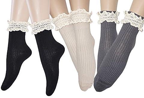 Mesdames vintage dentelle ébouriffé à fanfreluches socquettes coton chaussettes de démarrage, Mode fille anniversaire cadeaux d'occasion (3 paires / noir gris