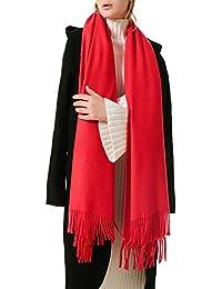 99d1272417f0d Junlinto Femmes Couleur Unie Écharpe Pashmina Tassel Longue Couverture d hiver  Écharpe Wrap Chaud Nouveau