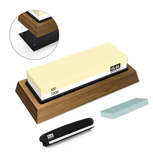 Schleifstein SHAN ZU Abziehstein Wetzstein für Professionell 2-in-1 Doppelseitiger Messerschärfer, Körnung 400/1000 mit rutschfestem Silikonhalte für Küche Messer
