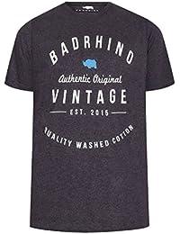 Yours Mens Badrhino Denim Marl Crew Neck Vintage Logo T-Shirt